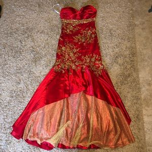 Gorgeous red & gold prom dress